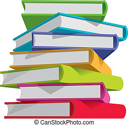 Books stack - Stack of multicolor books on white background...