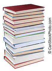 Books Stack - High books stack isolated on white background
