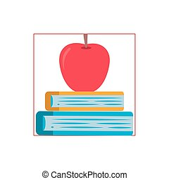 books stack with apple flat style icon