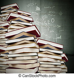books stacked with formulas fund, education