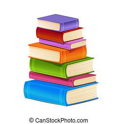 books., stapel, kleurrijke