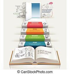 Books step education infographics.  Can be used for workflow layout, banner, diagram, number options, step up options, web design.