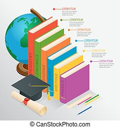 Books step education timeline. Isometric Knowledge school and back to school vector illustration. Can be used for workflow layout, banner, diagram, number options, web design and infographics.