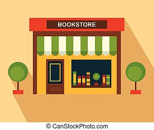 Books Store building, storefront. Thin line art, web design...