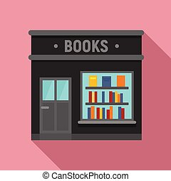 Books store icon, flat style