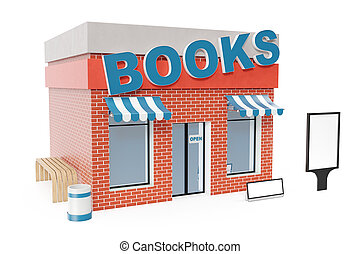High Quality Books Store With Copy Space Board Isolated On White Background. Modern Shop  Buildings, Store