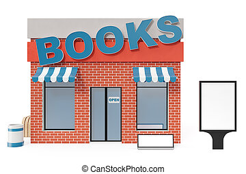 Books Store With Copy Space Board Isolated On White Background. Modern Shop  Buildings, Store