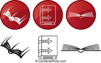 Books, vector icons set.