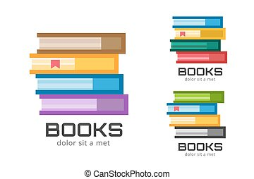Books vector logo icons set. Sale background