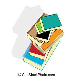 books., vetorial, pilha, illustration.