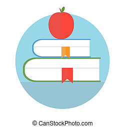 Books with apple. Education concept