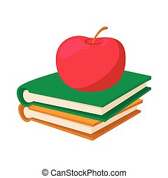 Books with apple icon, cartoon style