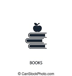 Books with apple icon. Simple school element illustration. Vector symbol design from education collection. Can be used in web and mobile.