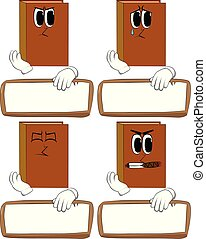 Books with blank paper on wood.