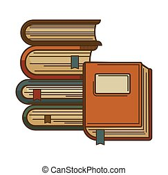 Books with bookmarks vector icon for poetry literature or...