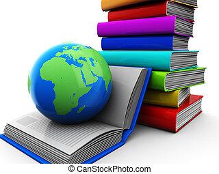 Books with globe