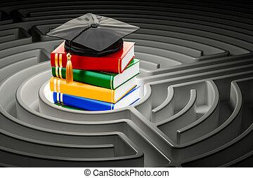 Books with graduation cap inside labyrinth maze. 3D...