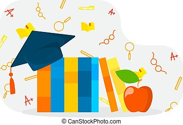Books with graduation cap on the top