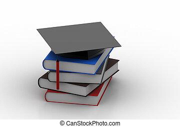 Books with graduation cap