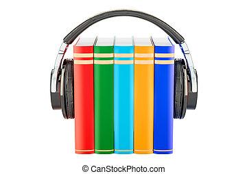 Books with headphones, audiobook concept. 3D rendering