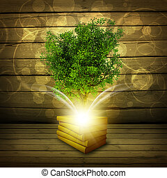 Books with magical green tree and rays of light
