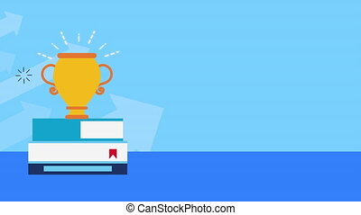 books with trophy cup award animation - books with trophy ...