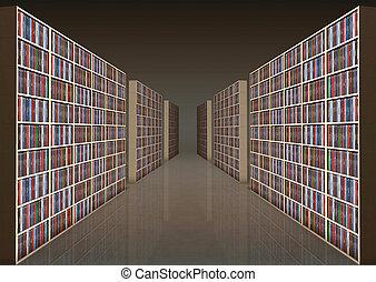 Bookshelf corridor - Library with rows of bookshelves filled...