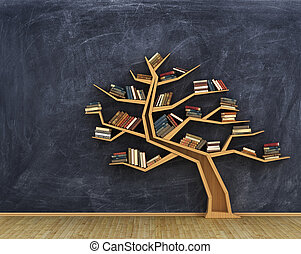 Bookshelf full of books in form of tree on a whiteboard -...