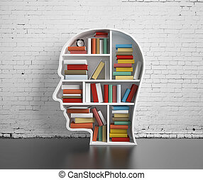 bookshelf-head with  many book in library