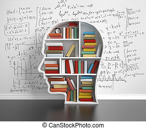 bookshelf-head with many colored book