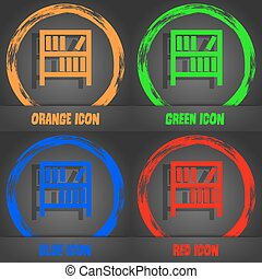 Bookshelf icon sign. Fashionable modern style. In the orange, green, blue, red design. Vector