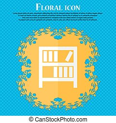 Bookshelf icon sign. Floral flat design on a blue abstract...