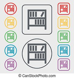 Bookshelf icon sign. Symbols on the Round and square buttons with frame. Vector