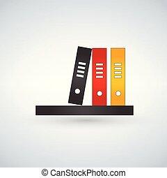 Bookshelf icon with colorfull books. vector illustration