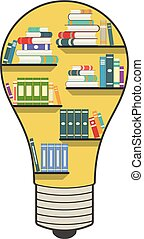 Bookshelf in the form of a light bulb, for knowledge or library concept.