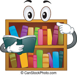 Bookshelf Mascot - Mascot Illustration of a Bookshelf...
