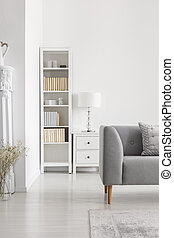 Bookshelf next to cabinet with lamp in white living room interior with grey couch and plant. Real photo