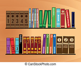 bookshelf of wooden with books. vector illustration