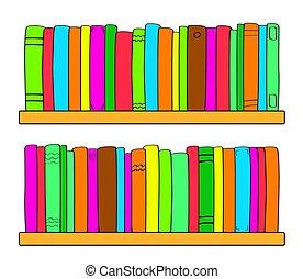 Bookshelf on a white background. Vector