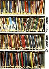 bookshelf or book shelf in a university library