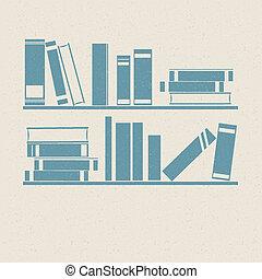 bookshelf., retro, illustrations.