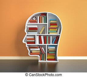 bookshelf head with many book in room