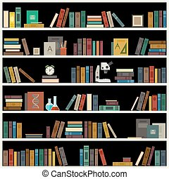Bookshelf with books.
