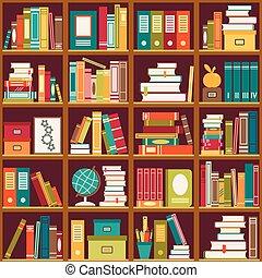 Bookshelf with books. Seamless background - Seamless pattern...