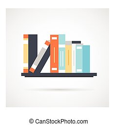 Bookshelf with books - simple icon