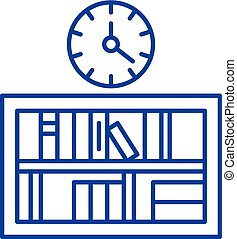 Bookshelf with clock line icon concept. Bookshelf with clock flat vector symbol, sign, outline illustration.
