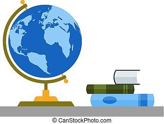 Bookshelf with globe