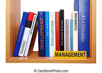 Bookshelf with management knowledge and skills.