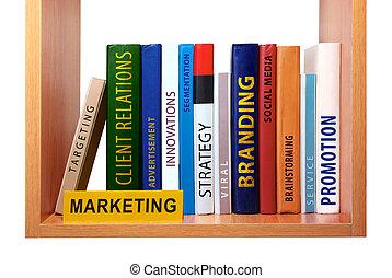 Bookshelf with marketing knowledge and skills.