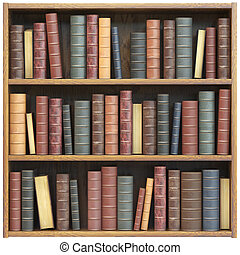 Bookshelf with old books isolated on white background. Education library book store concept.